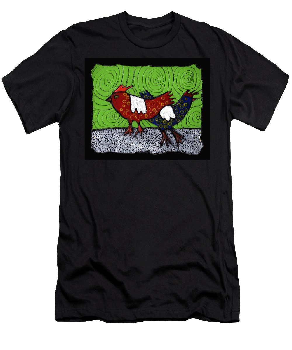 Chickens Men's T-Shirt (Athletic Fit) featuring the painting Two Roosters by Wayne Potrafka