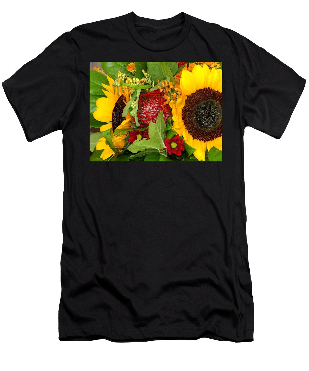 Sunflower Men's T-Shirt (Athletic Fit) featuring the photograph Two Suns by Ian MacDonald