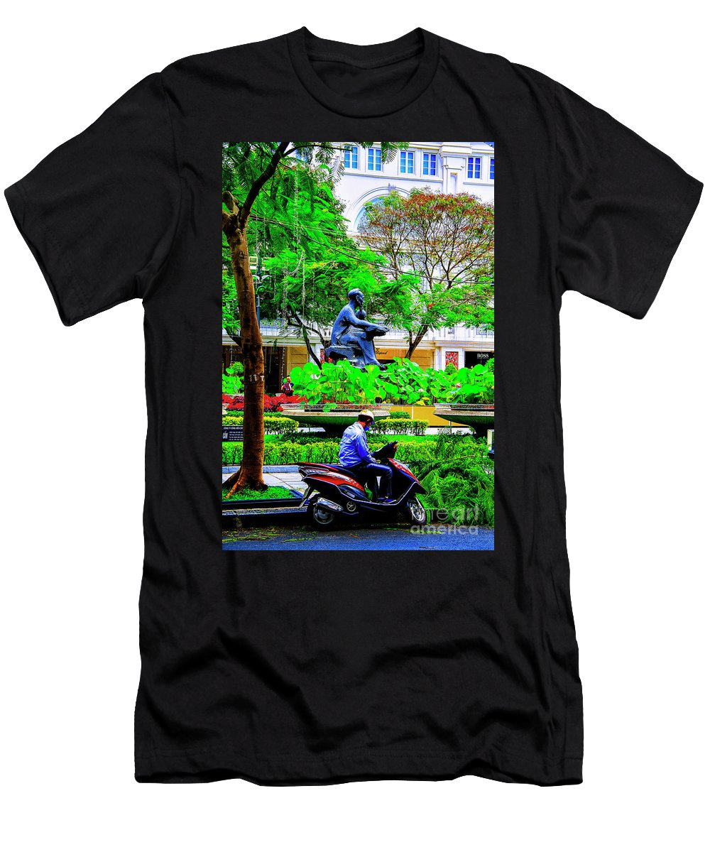 Vietnam Dalat City Parks Men's T-Shirt (Athletic Fit) featuring the photograph Two Thinkers by Rick Bragan