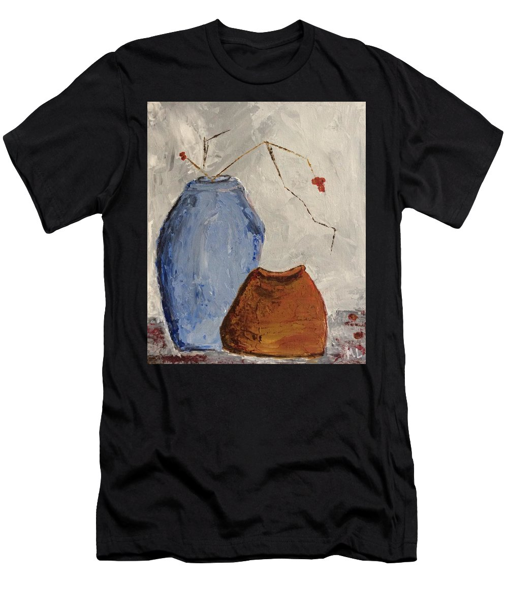 Still Life Men's T-Shirt (Athletic Fit) featuring the painting Two Vases Still Life by Marlena Leach