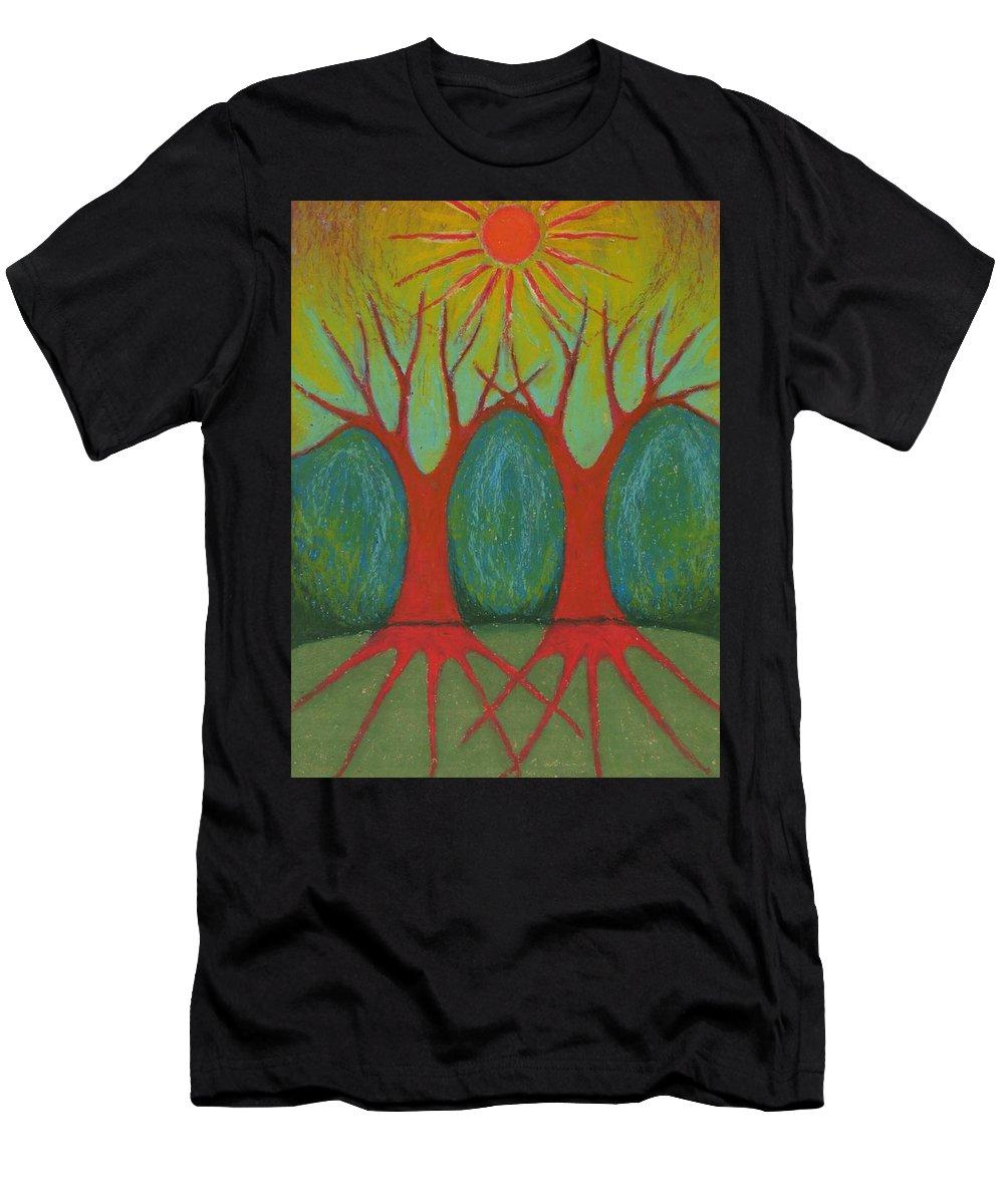 Colour Men's T-Shirt (Athletic Fit) featuring the pastel Two Worlds by Wojtek Kowalski