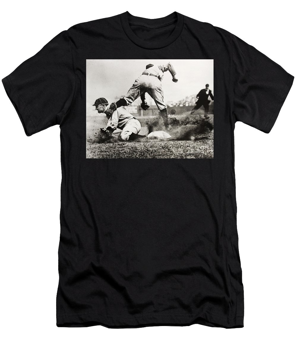 Detroit Tigers Men's T-Shirt (Athletic Fit) featuring the photograph Ty Cobb Gets A Triple by Jon Neidert