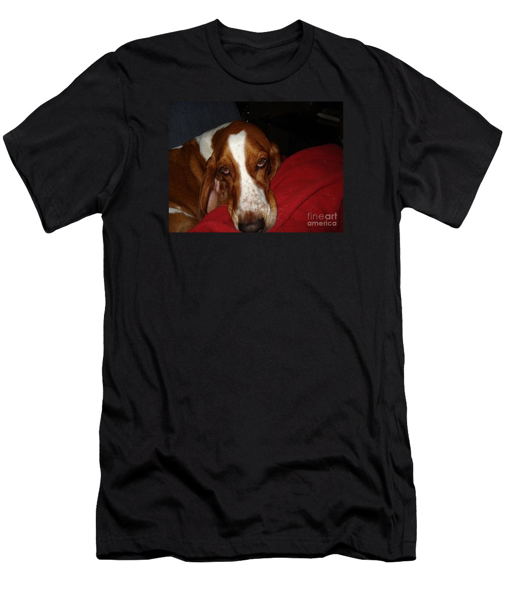 Basset Hound Men's T-Shirt (Athletic Fit) featuring the photograph Tyler The Bassett by Madilyn Fox