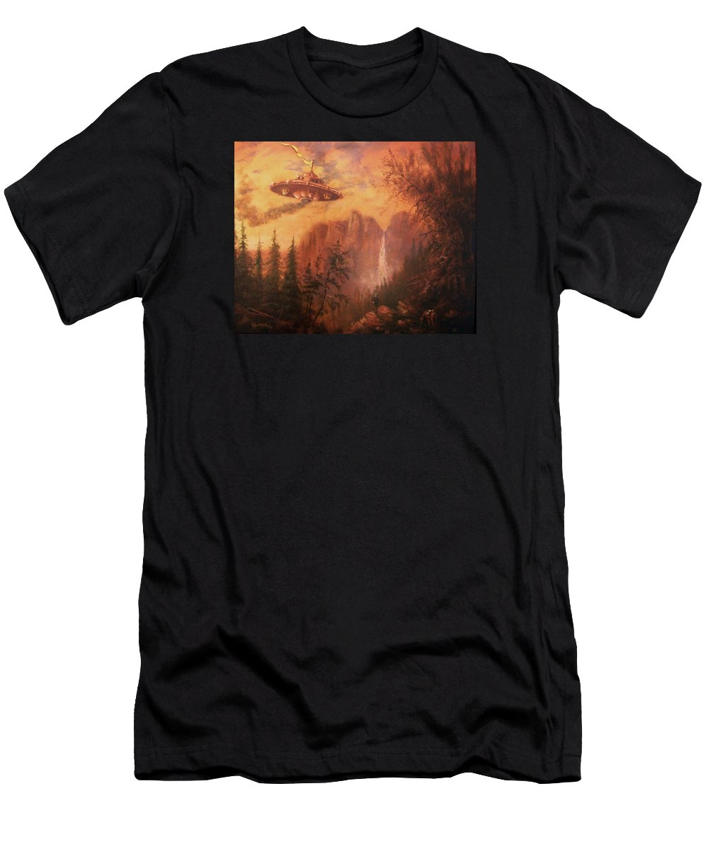 Landscape Men's T-Shirt (Athletic Fit) featuring the painting Ufo Sighting by Tom Shropshire