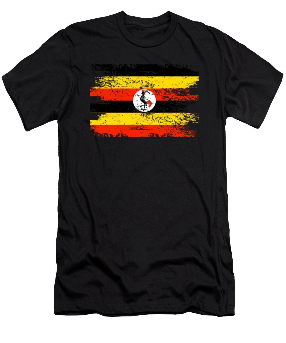 Patriotic Men's T-Shirt (Athletic Fit) featuring the digital art Uganda Shirt Gift Country Flag Patriotic Travel Africa Light by J P