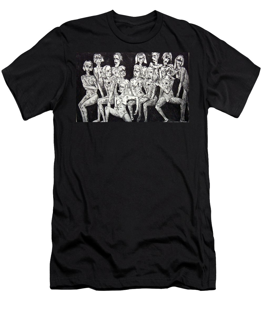 Etching Men's T-Shirt (Athletic Fit) featuring the print Ugly Girls by Thomas Valentine