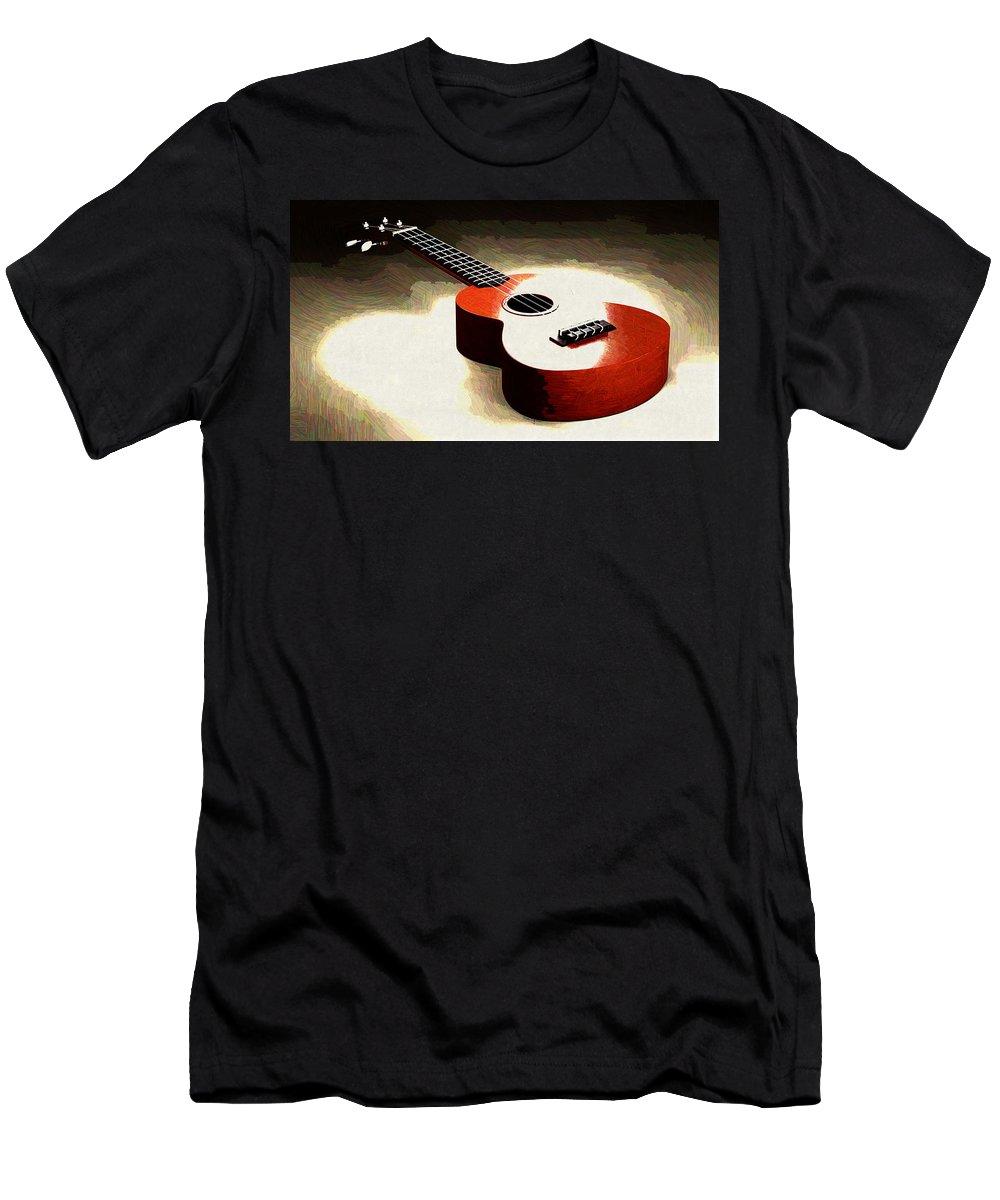 Ukulele Men's T-Shirt (Athletic Fit) featuring the digital art Ukulele by Lora Battle