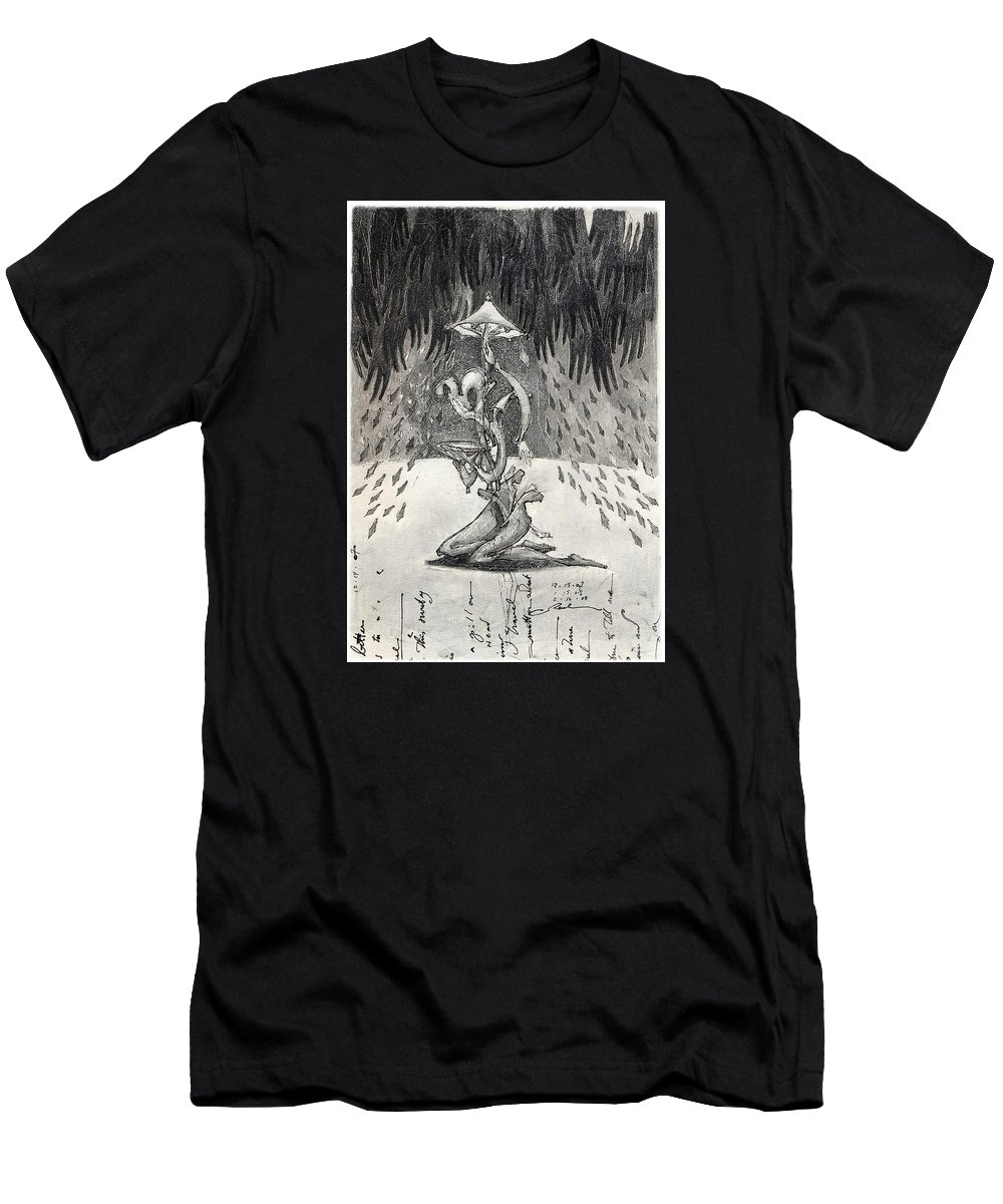 Umbrella Men's T-Shirt (Athletic Fit) featuring the drawing Umbrella Moon by Juel Grant
