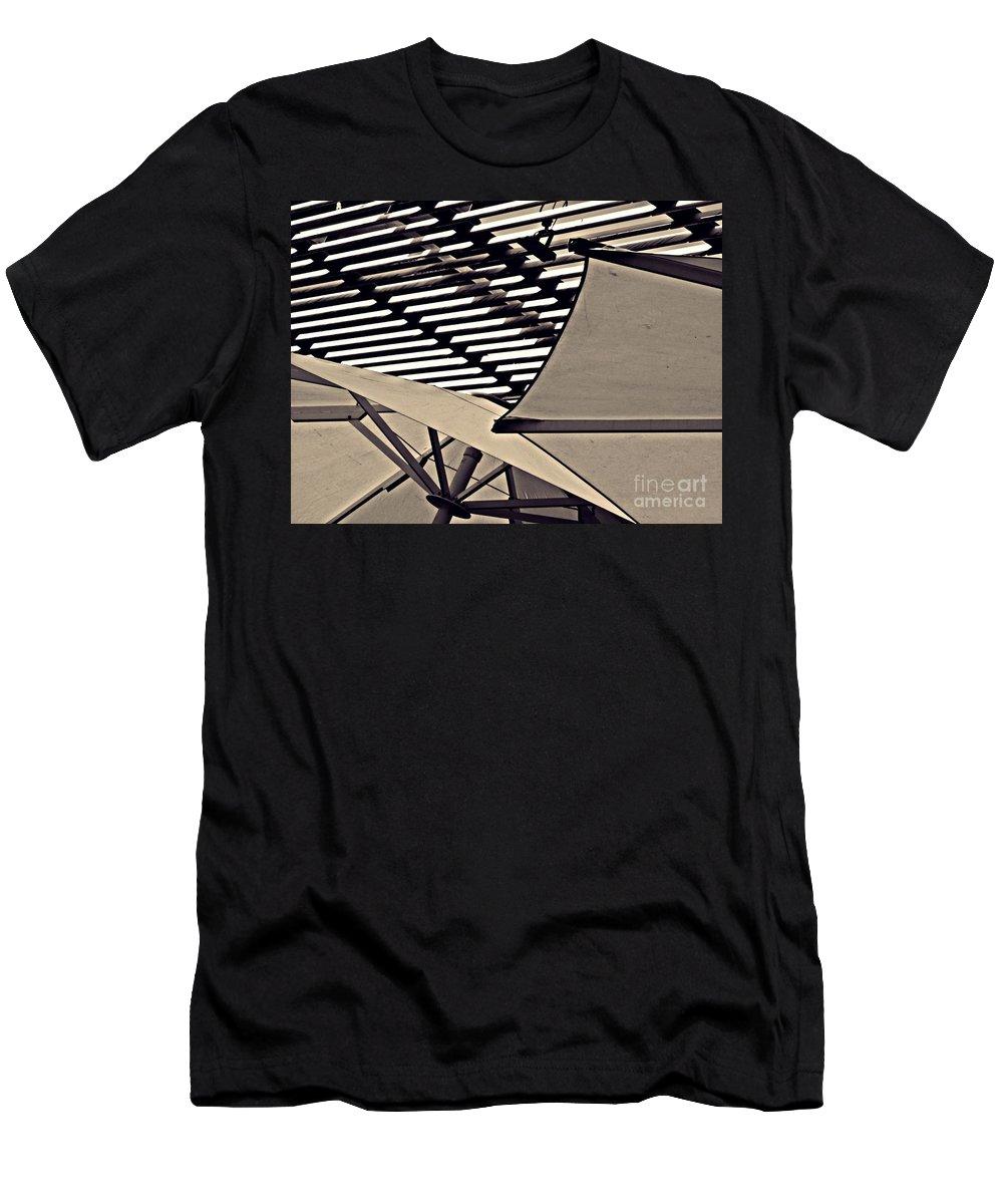 Umbrella Men's T-Shirt (Athletic Fit) featuring the photograph Umbrellas Sepia by Sarah Loft