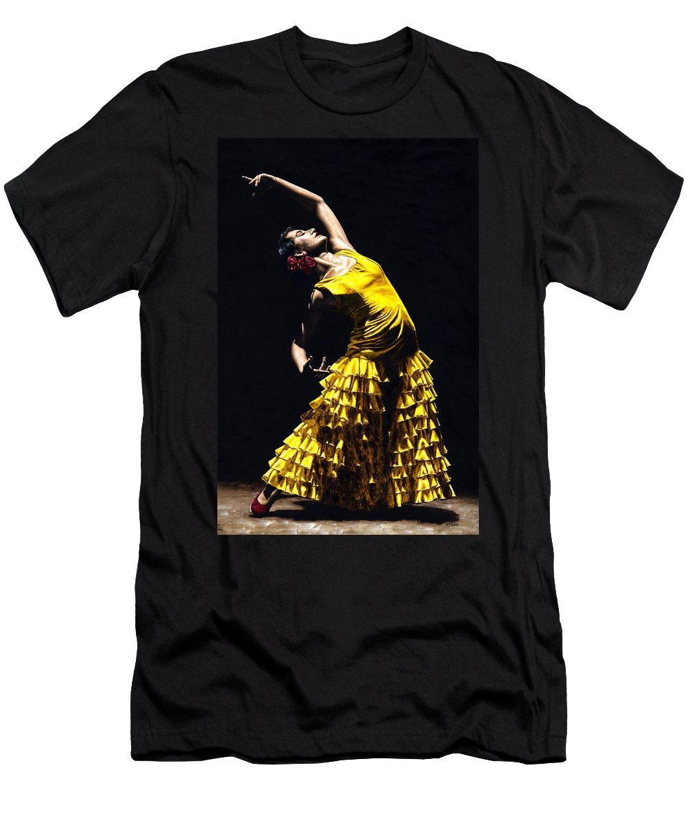 Flamenco Men's T-Shirt (Athletic Fit) featuring the painting Un Momento Intenso Del Flamenco by Richard Young