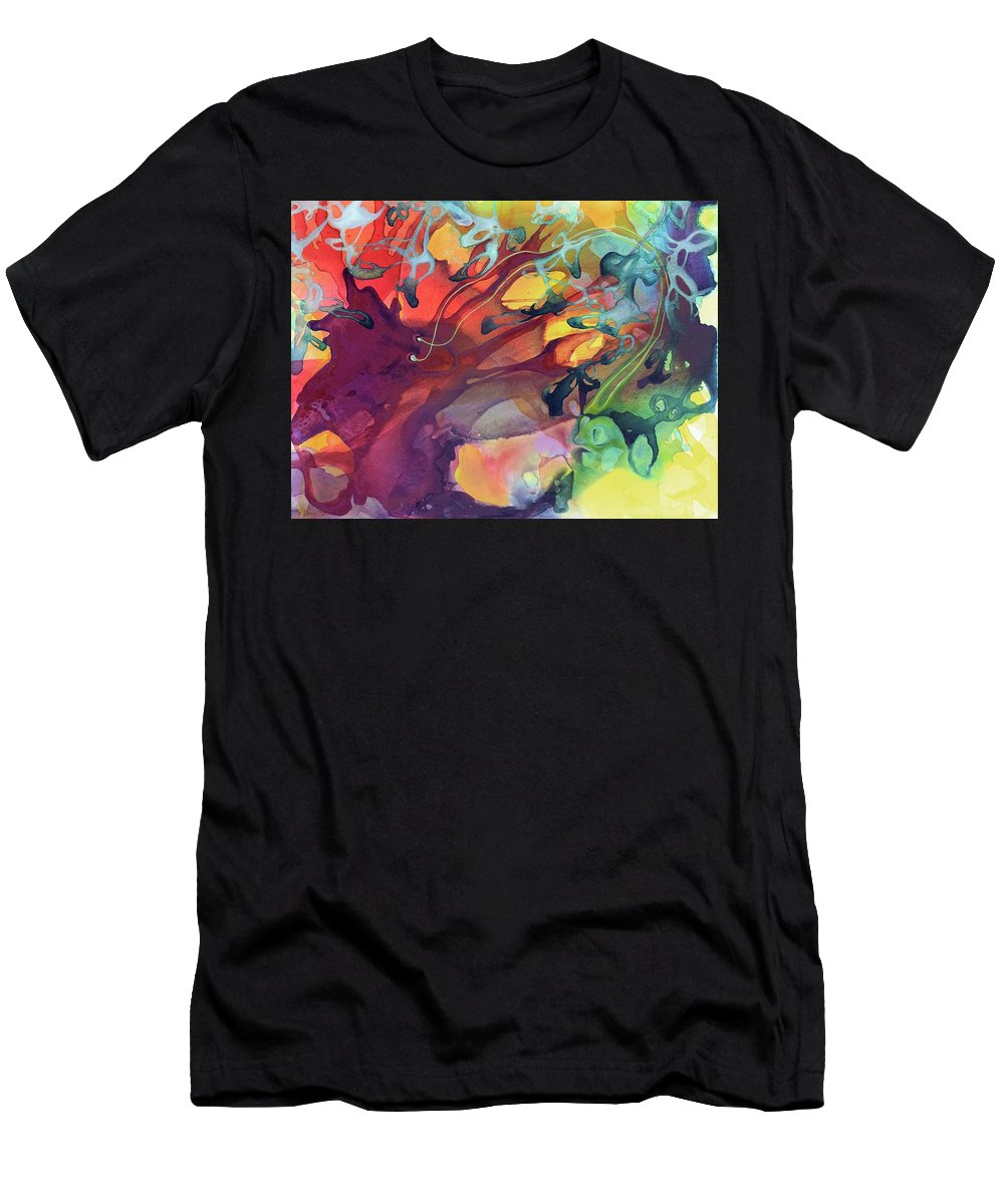 Abstract Men's T-Shirt (Athletic Fit) featuring the painting Uncontrolled by Darcy Lee Saxton
