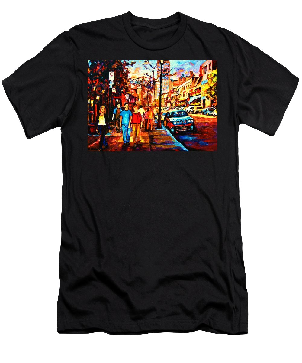 Montrealstreetscene Men's T-Shirt (Athletic Fit) featuring the painting Under A Crescent Moon by Carole Spandau
