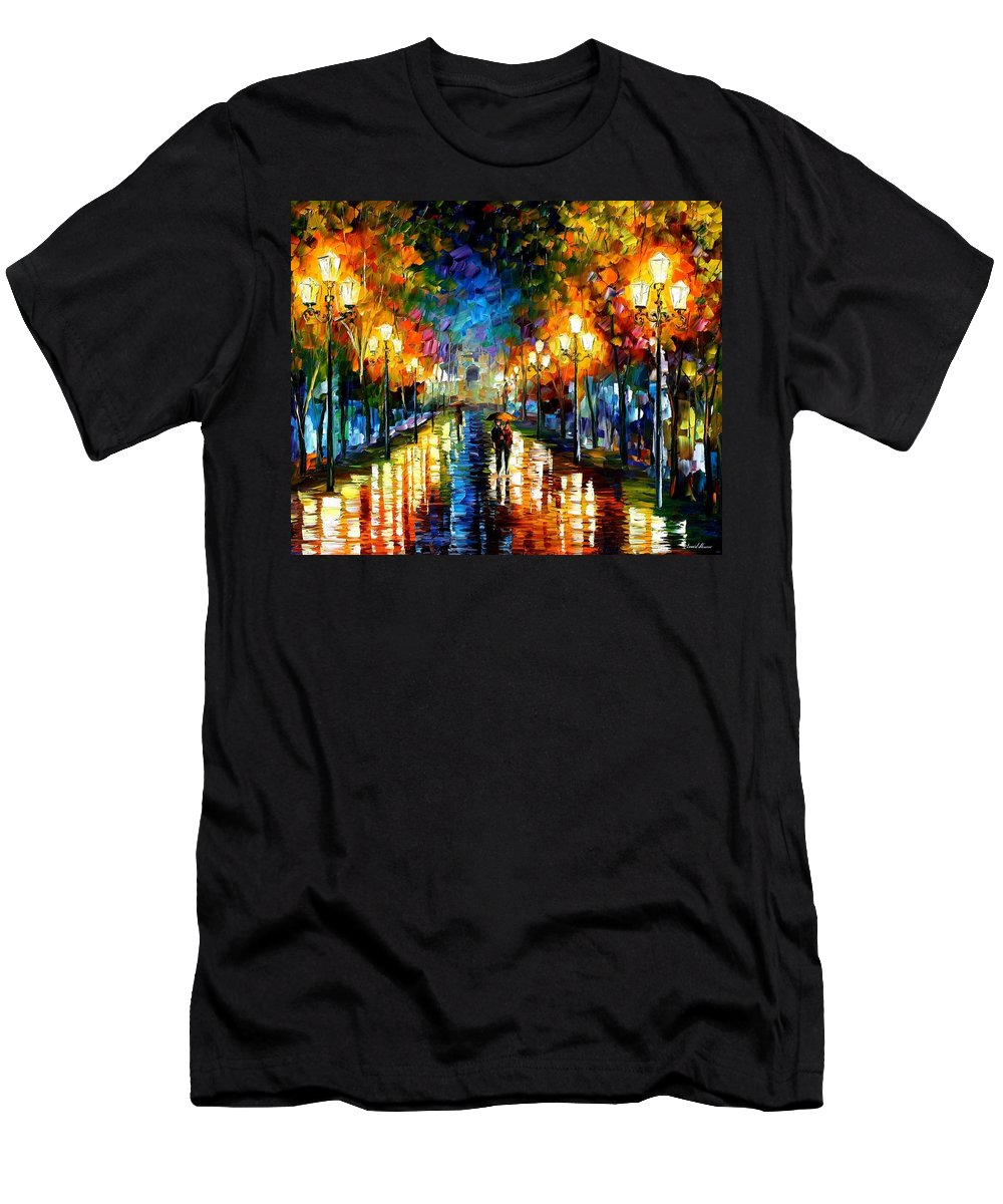 Afremov Men's T-Shirt (Athletic Fit) featuring the painting Under Brown Umbrella by Leonid Afremov