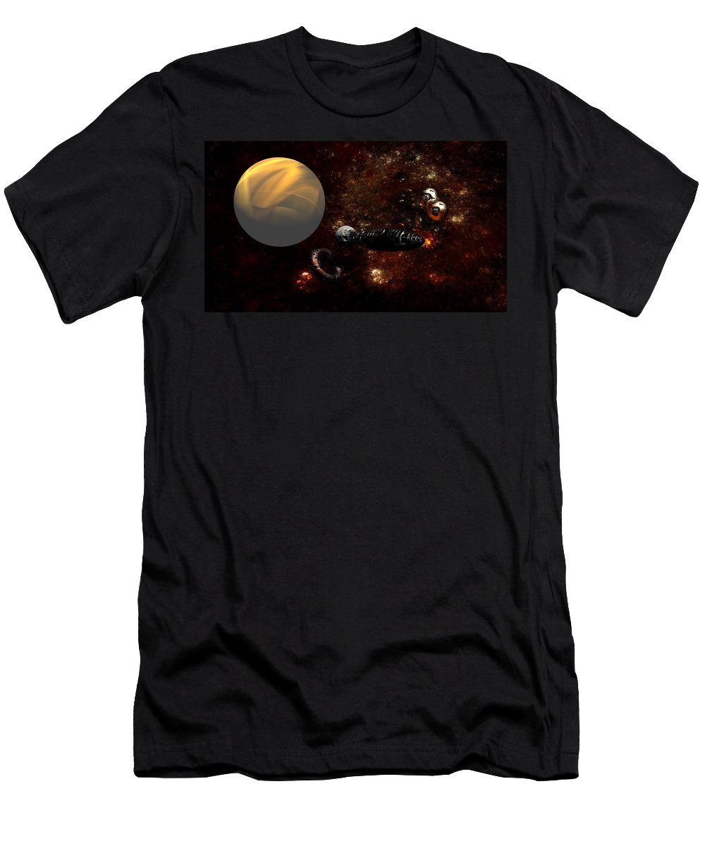Science Fiction Men's T-Shirt (Athletic Fit) featuring the digital art Under Construction by David Lane