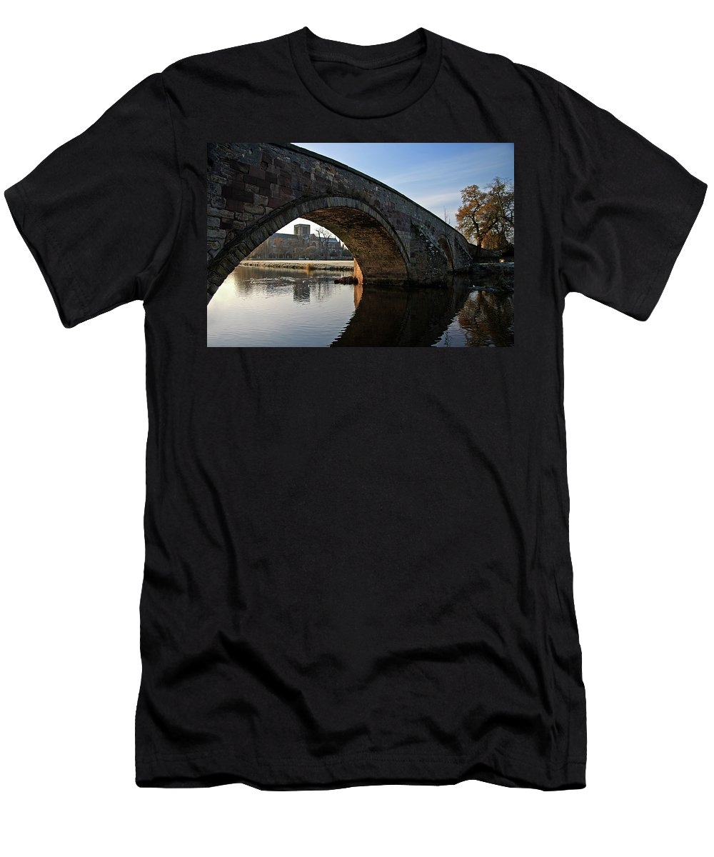 Old Bridge Men's T-Shirt (Athletic Fit) featuring the photograph Under The Bridge by Carole Lloyd
