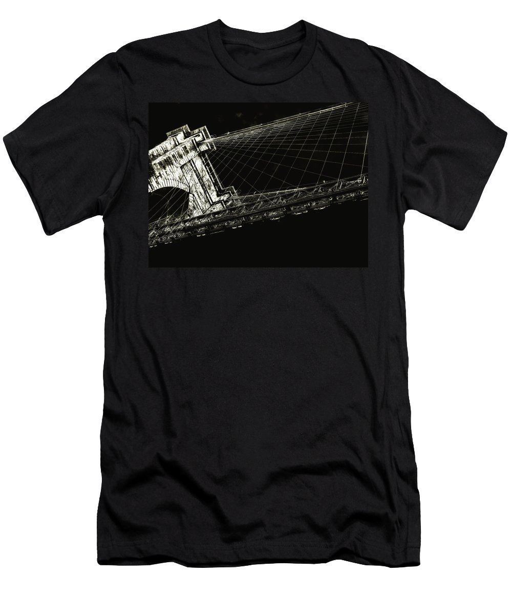 Brooklyn Men's T-Shirt (Athletic Fit) featuring the photograph Under The Brooklyn Tower by Jeff Watts