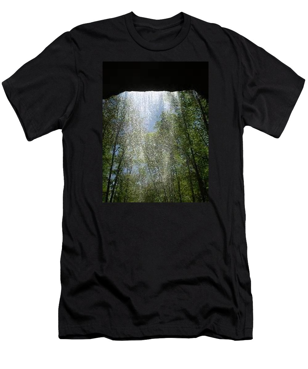Waterfall Men's T-Shirt (Athletic Fit) featuring the photograph Under The Falls by Kristine Nutt