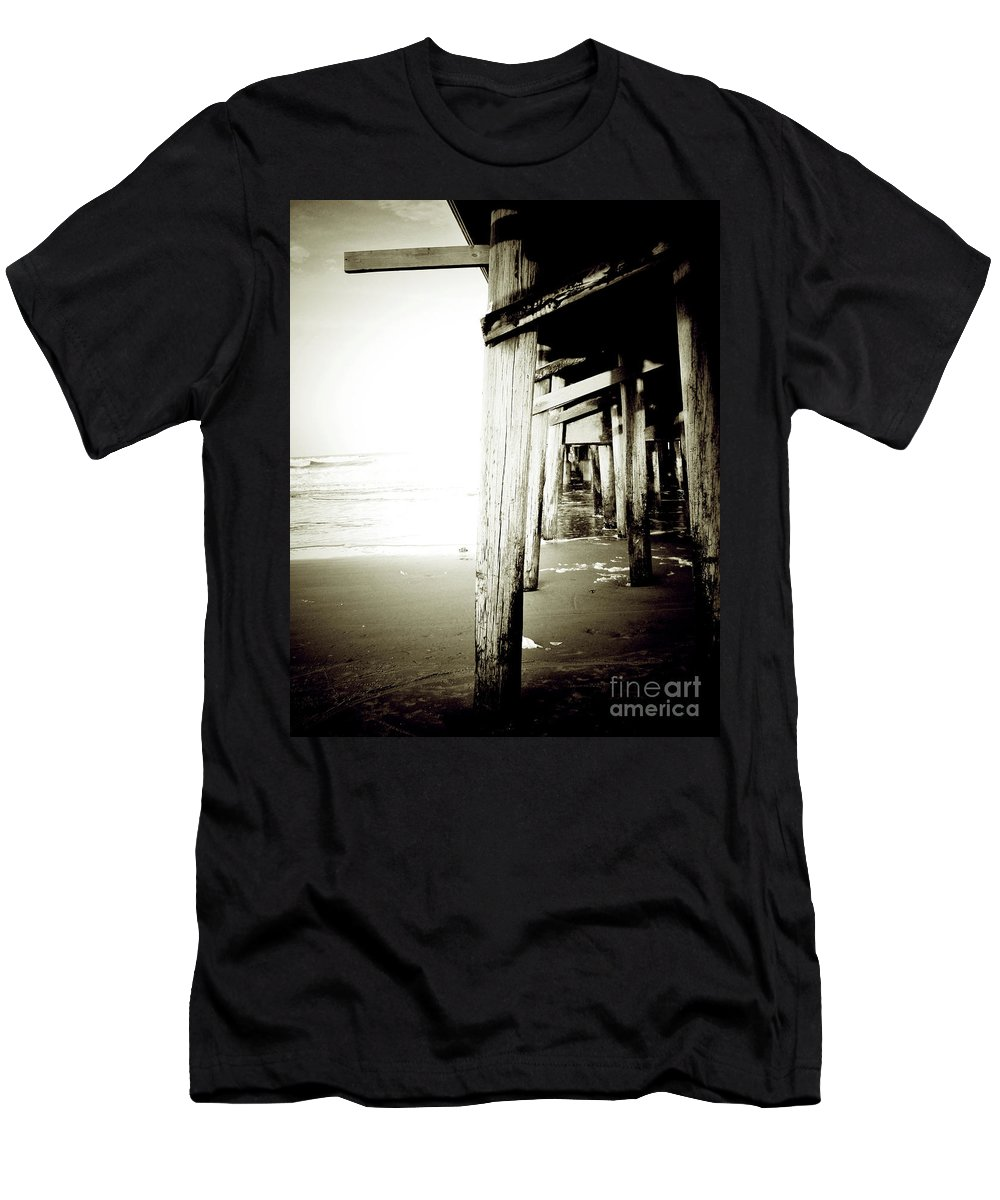 Florida Men's T-Shirt (Athletic Fit) featuring the photograph Under The Pier Extreme by Chris Andruskiewicz