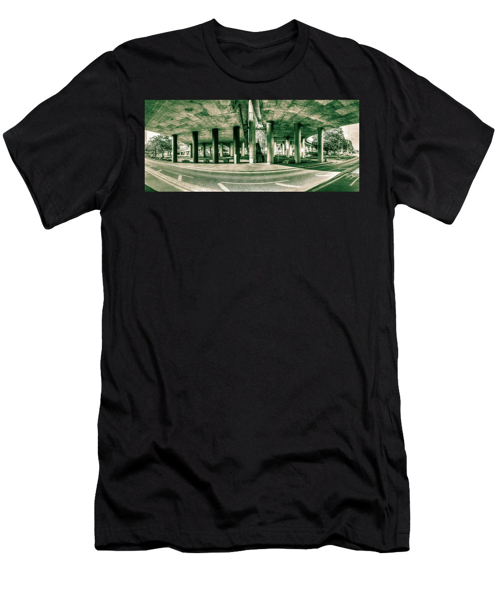 Architecture Men's T-Shirt (Athletic Fit) featuring the photograph Under The Viaduct C Panoramic Urban View by Jacek Wojnarowski
