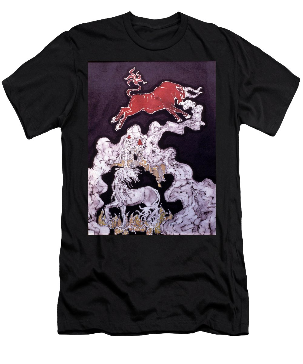 Unicorn Men's T-Shirt (Athletic Fit) featuring the tapestry - textile Unicorn And Red Bull by Carol Law Conklin