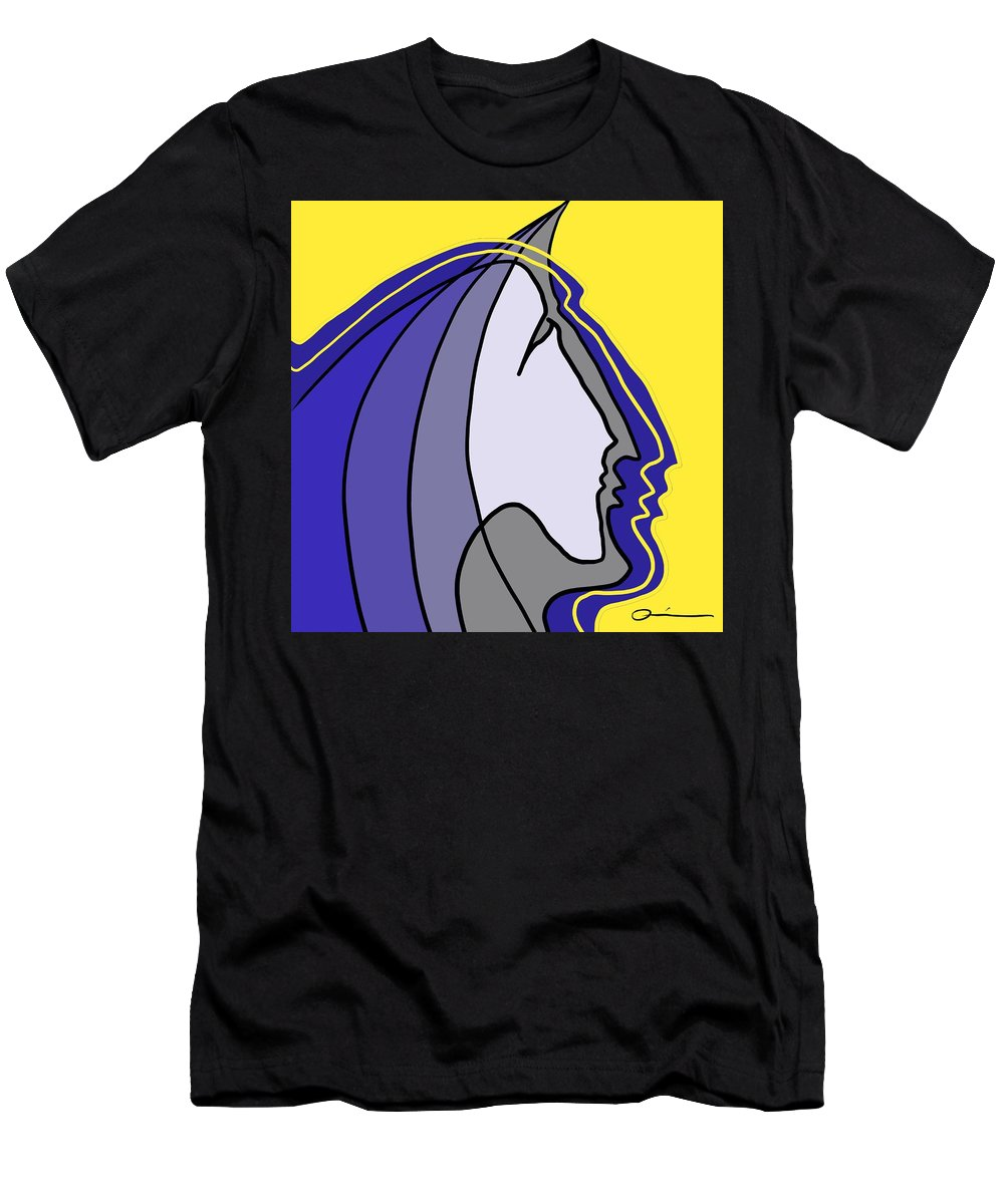 Faces Men's T-Shirt (Athletic Fit) featuring the digital art Unicorn by Jeff Quiros