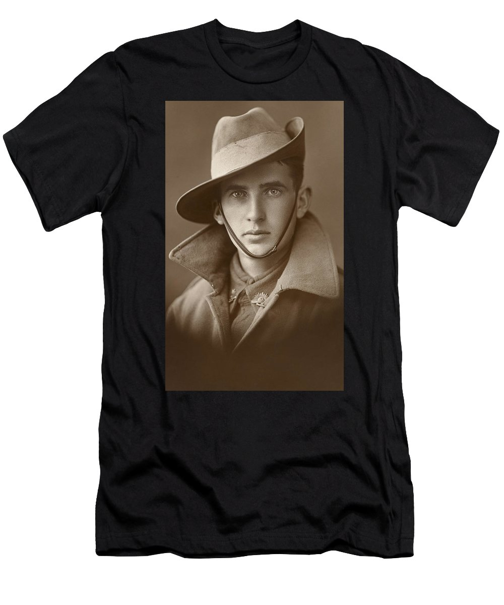 Unidentified Soldier Of The First Aif 1915 And 1918 By Australian War Memorial Men's T-Shirt (Athletic Fit) featuring the painting Unidentified Soldier Of The First Aif by MotionAge Designs