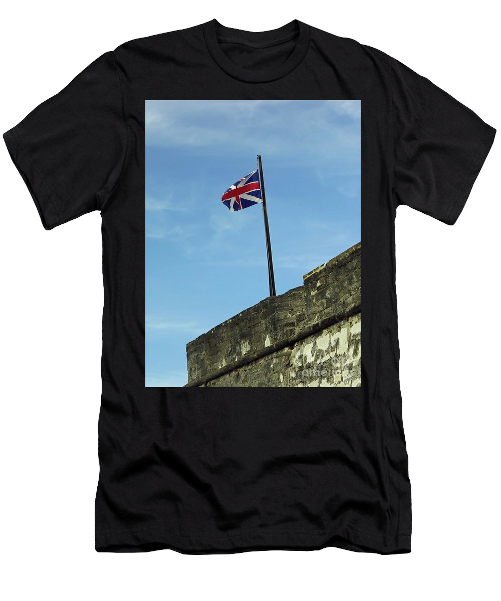Flag Men's T-Shirt (Athletic Fit) featuring the photograph Union Jack Over The Castillo by D Hackett