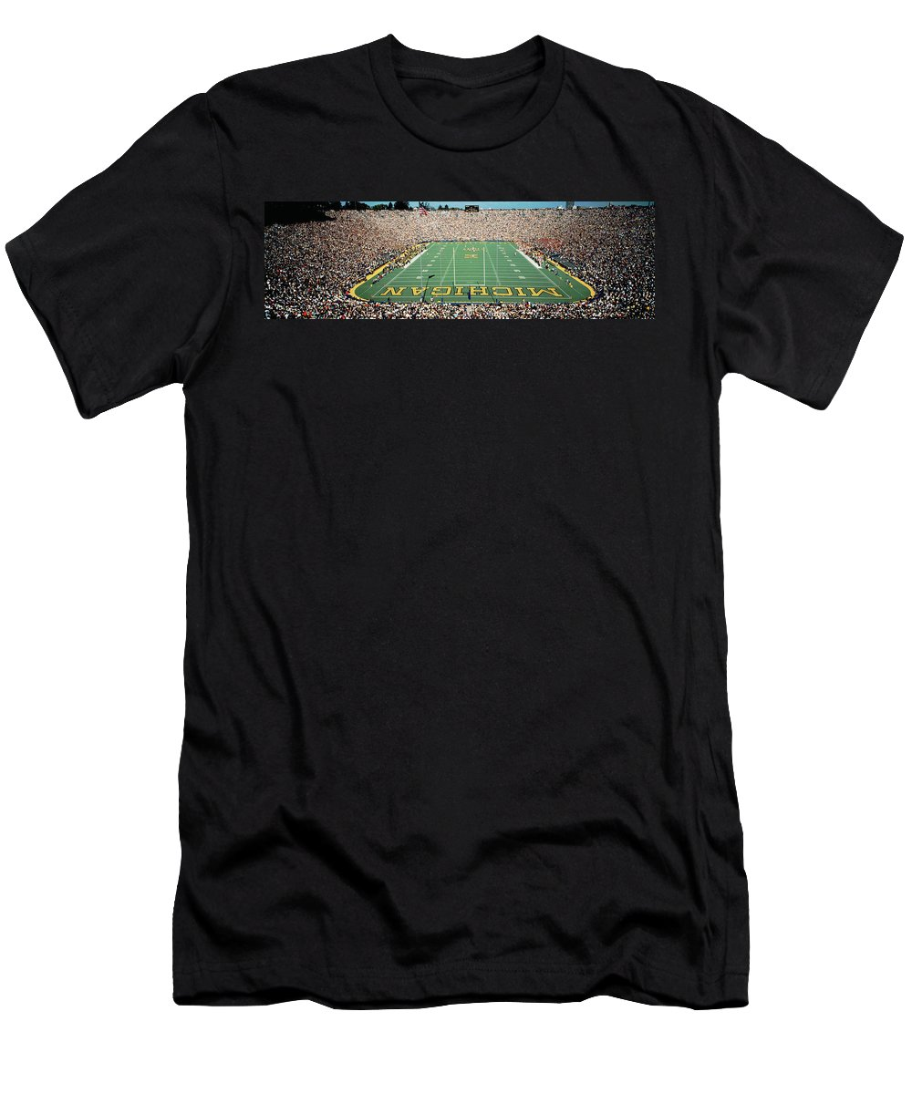 Photography Men's T-Shirt (Athletic Fit) featuring the photograph University Of Michigan Stadium, Ann by Panoramic Images