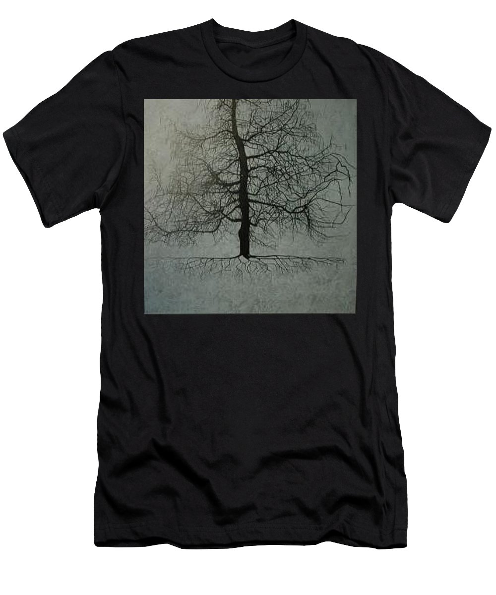 Silhouette Men's T-Shirt (Athletic Fit) featuring the painting Untitled Blue by Leah Tomaino