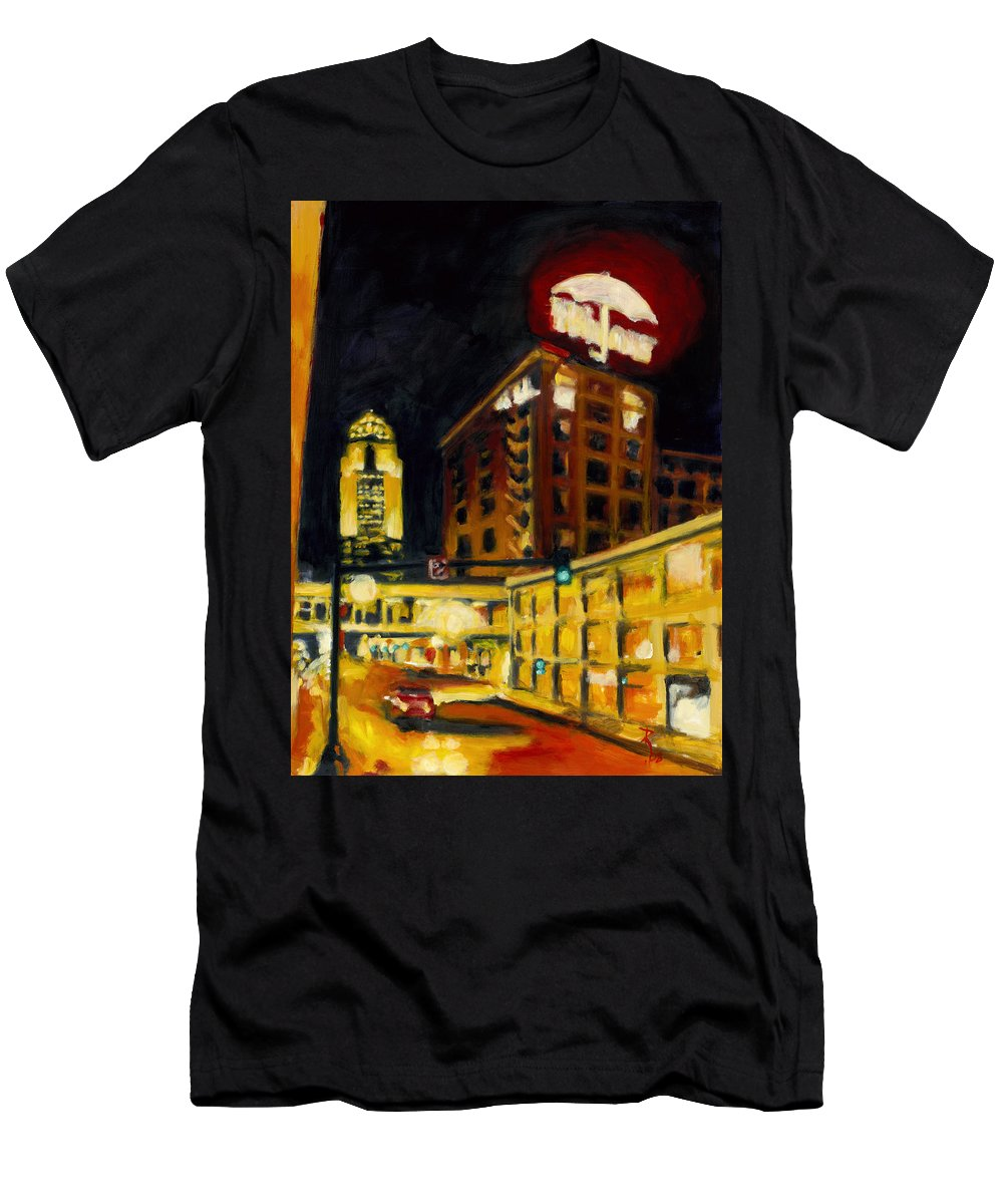 Rob Reeves Men's T-Shirt (Athletic Fit) featuring the painting Untitled In Red And Gold by Robert Reeves
