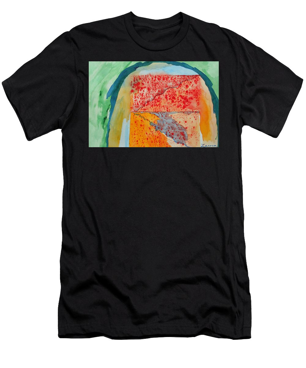 Abstract Expressionist Watercolor Painting Paintings Color Men's T-Shirt (Athletic Fit) featuring the painting Untitled by Laura Joan Levine
