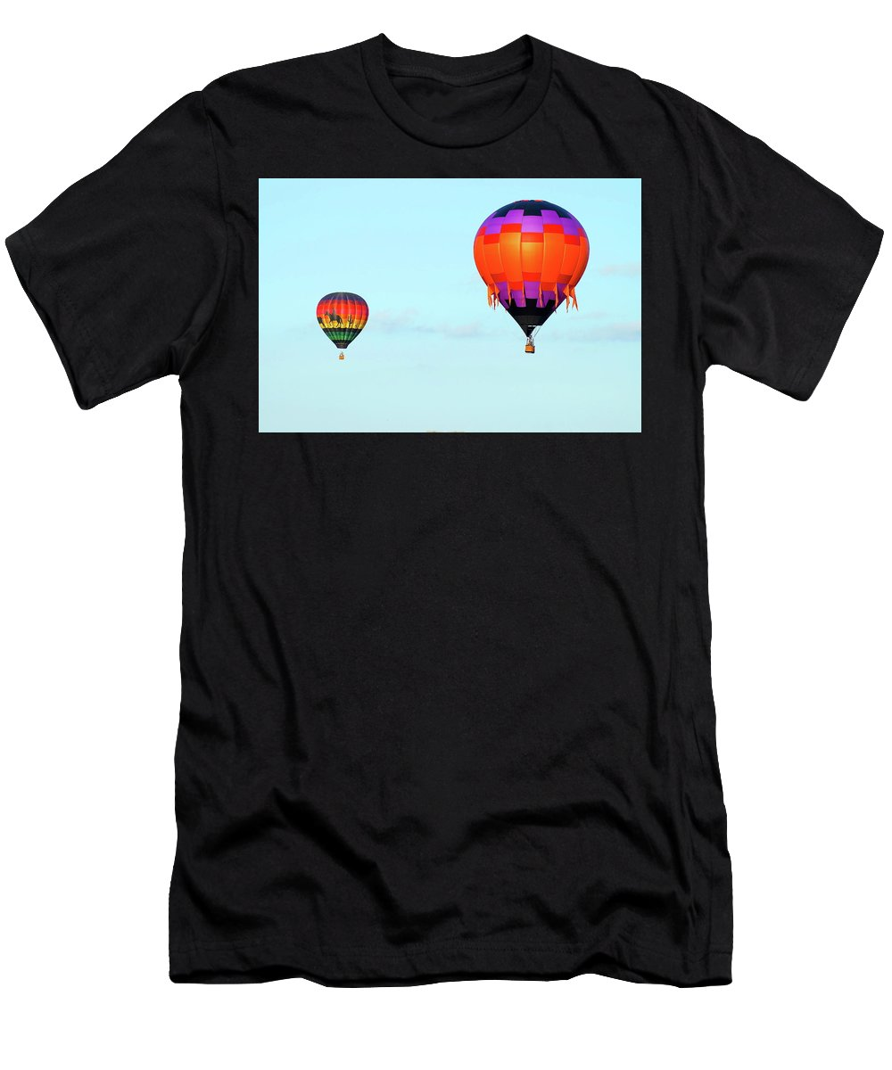 Balloons Men's T-Shirt (Athletic Fit) featuring the photograph Up And Away by Linda Cupps
