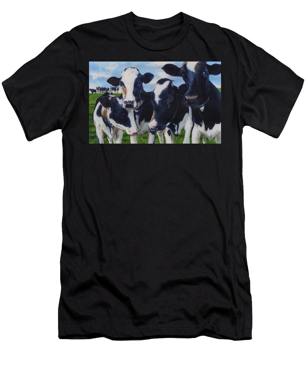 Cows Men's T-Shirt (Athletic Fit) featuring the painting Up Front by Denny Bond
