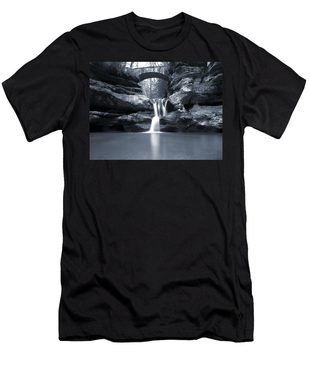 Upper Falls Hocking Hills Ohio Men's T-Shirt (Athletic Fit) featuring the photograph Upper Falls Hocking Hills Ohio by Dan Sproul