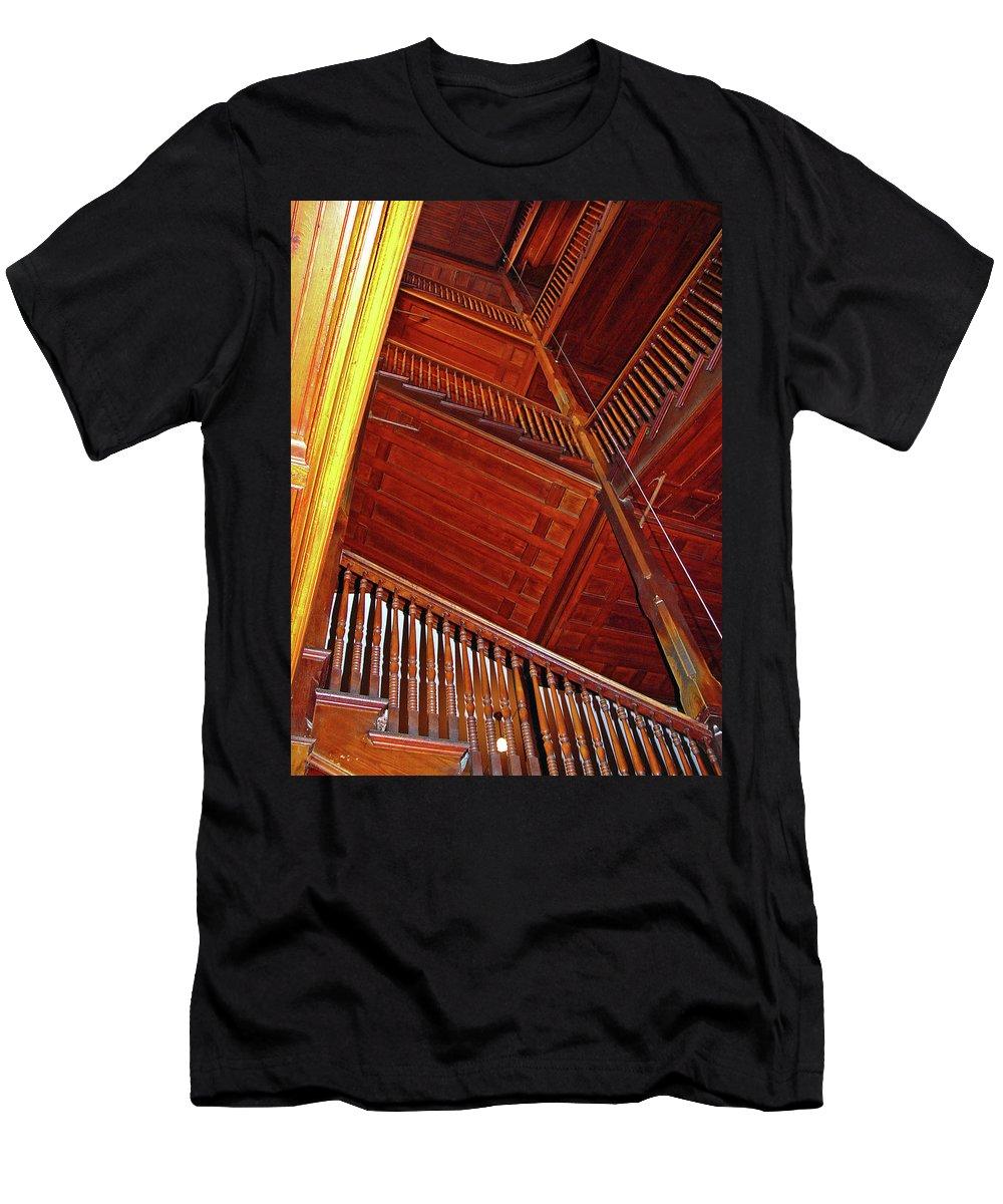 Stairs Men's T-Shirt (Athletic Fit) featuring the photograph Upward Vertigo by Lynda Lehmann