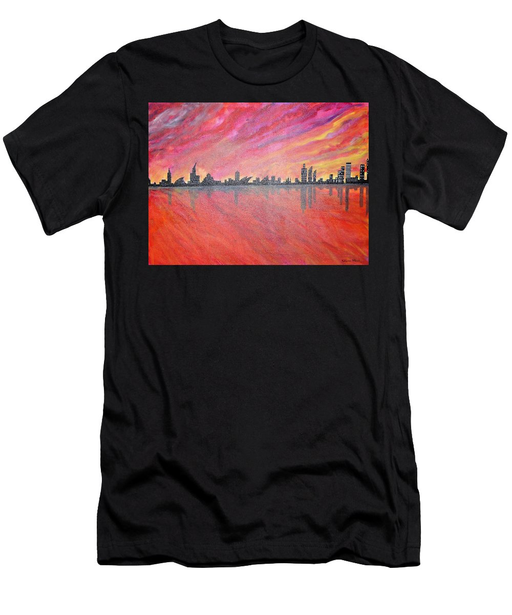 Urban Men's T-Shirt (Athletic Fit) featuring the painting Urban Cityscapes In Twilight by Madhusudan Pattanaik