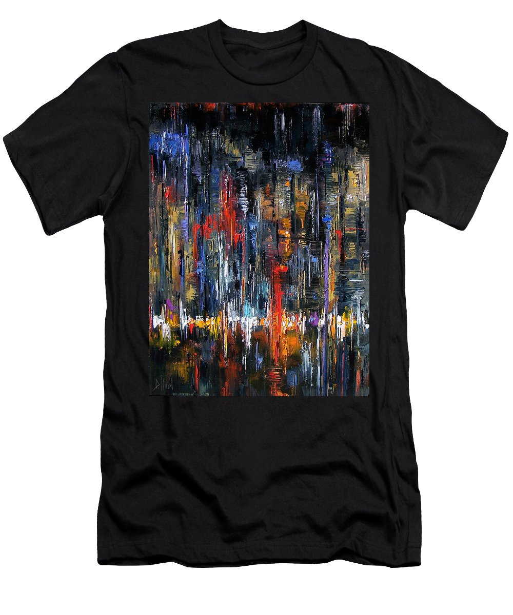 Abstract Men's T-Shirt (Athletic Fit) featuring the painting Urban Energy by Debra Hurd