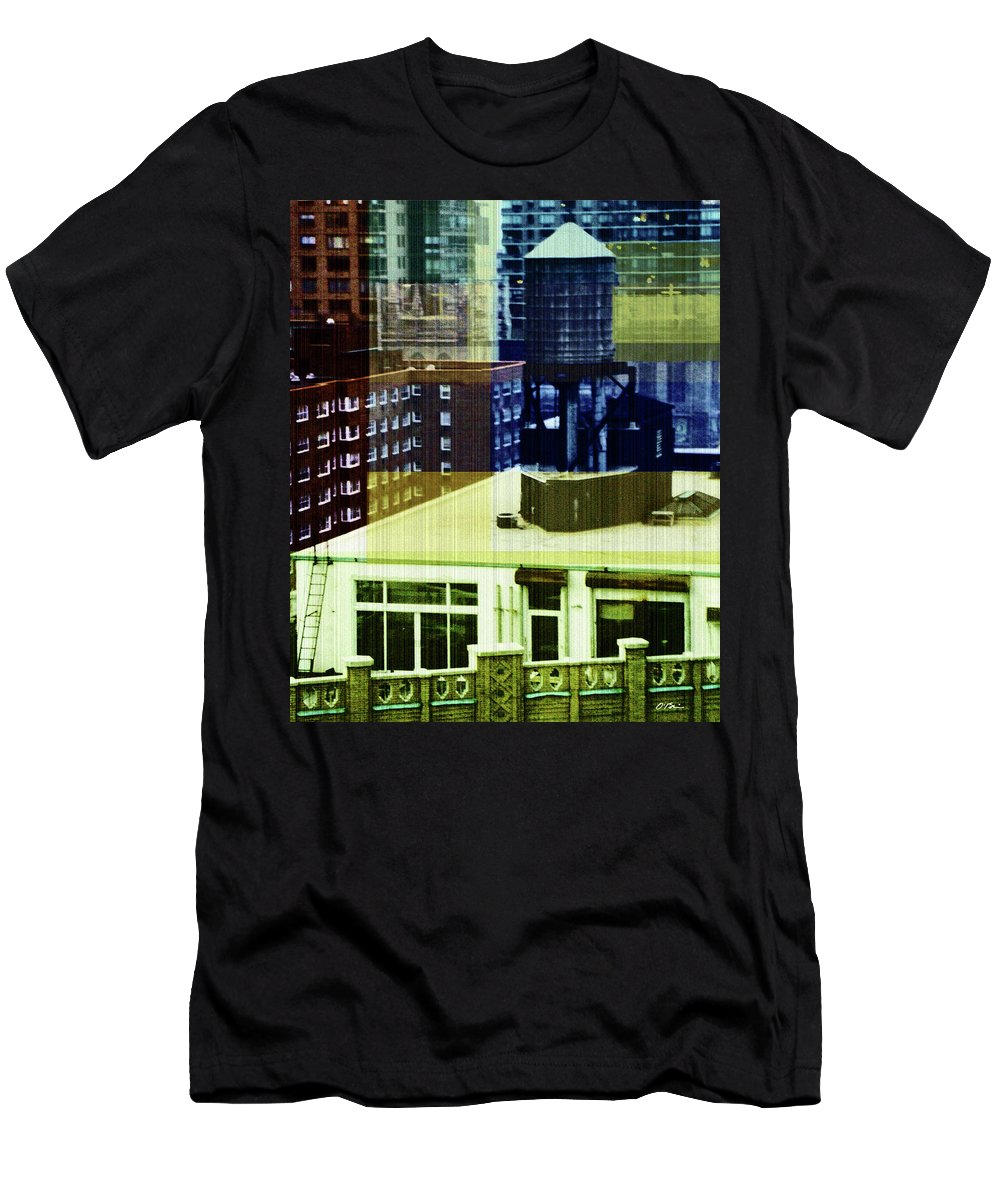 Aerial Men's T-Shirt (Athletic Fit) featuring the digital art Urban Layers by Claudia O'Brien