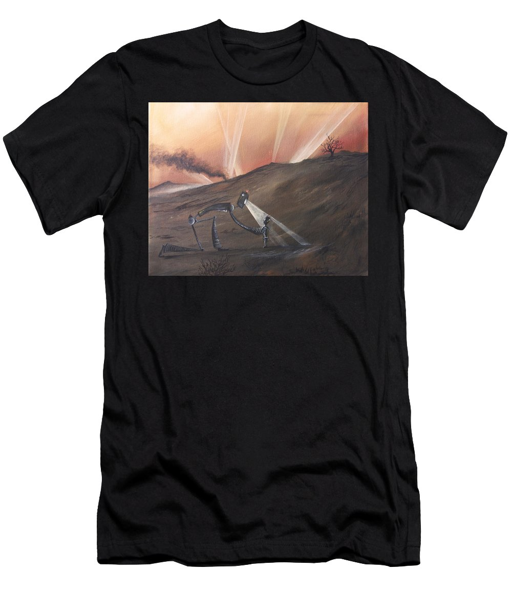 Robots Men's T-Shirt (Athletic Fit) featuring the painting Urgent by Austin Howlett