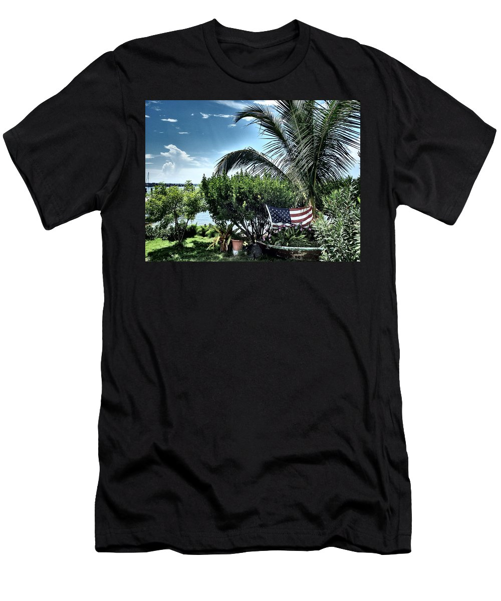 Amerian Flag T-Shirt featuring the photograph US Flag in the Abaco Islands, Bahamas by Cindy Ross