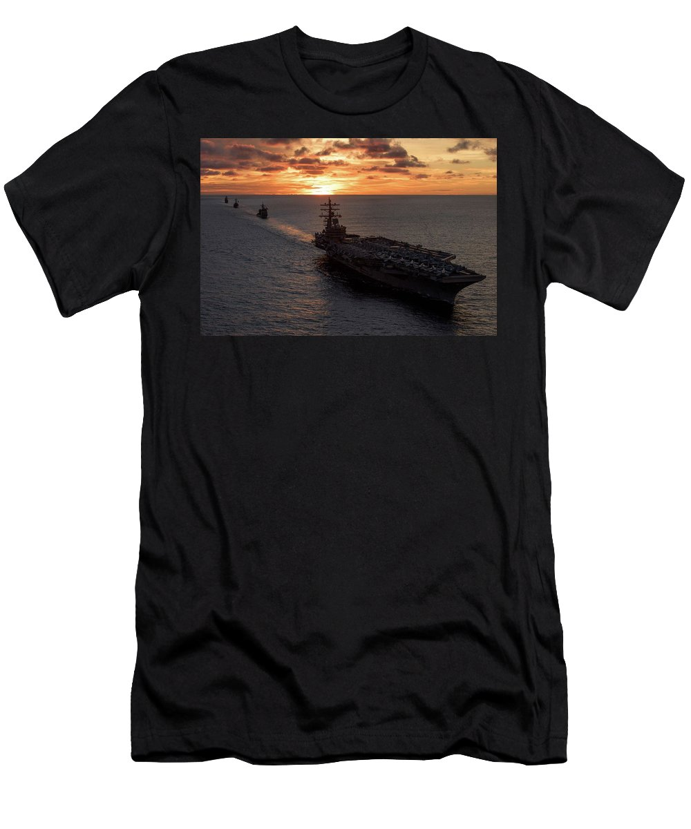 Military T-Shirt featuring the painting Us Navy Military Aircraft Carrier by US Navy Military