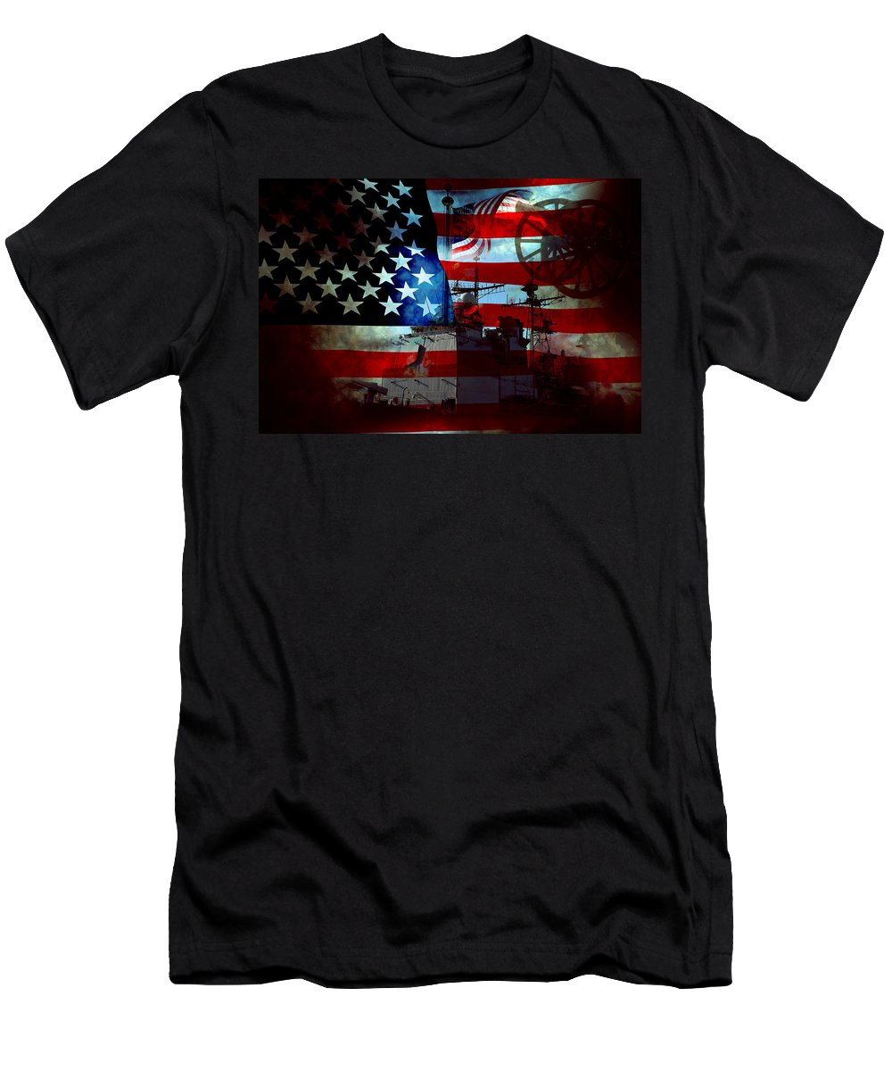 War Men's T-Shirt (Athletic Fit) featuring the photograph Usa Patriot Flag And War by Phill Petrovic