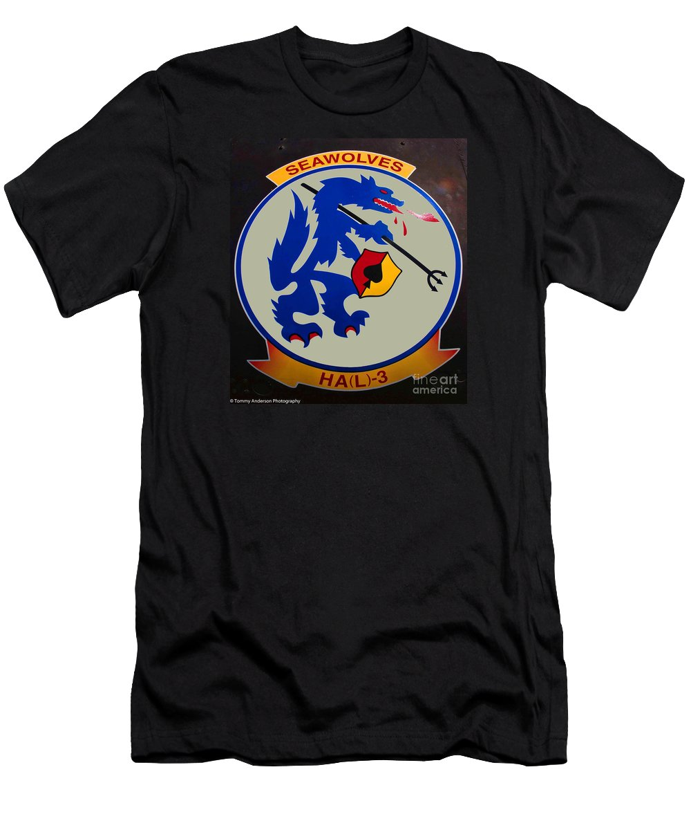 Usn Seawolves Men's T-Shirt (Athletic Fit) featuring the photograph Usn Seawolves Logo by Tommy Anderson