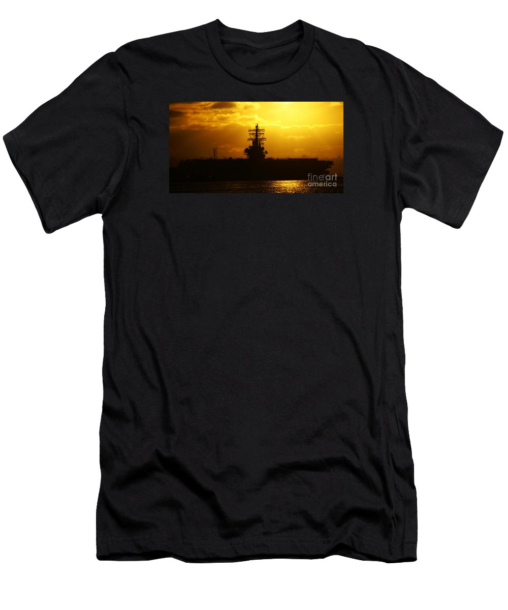 Uss Navy Men's T-Shirt (Athletic Fit) featuring the photograph Uss Ronald Reagan by Linda Shafer