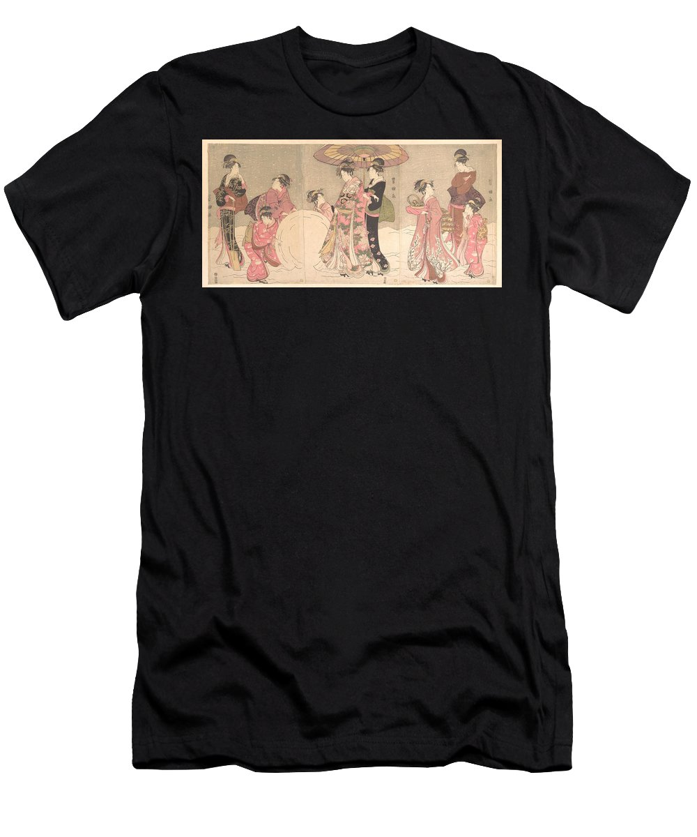 Utagawa Toyokuni I  Courtesans And Attendants Playing In The Snow Men's T-Shirt (Athletic Fit) featuring the digital art Utagawa Toyokuni I  Courtesans And Attendants Playing In The Snow by Anne Pool