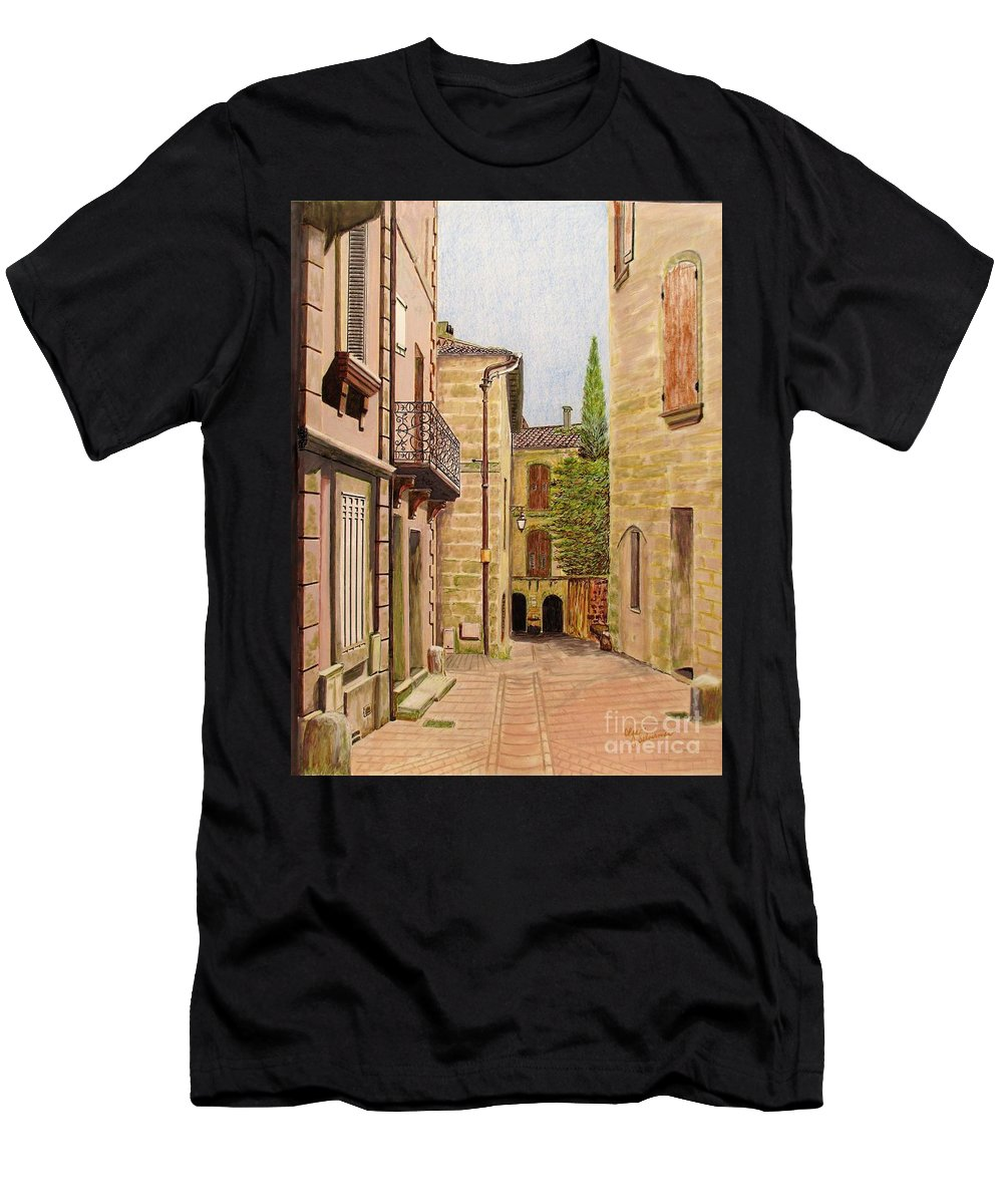 Uzes Men's T-Shirt (Athletic Fit) featuring the drawing Uzes, South Of France by Olga Silverman