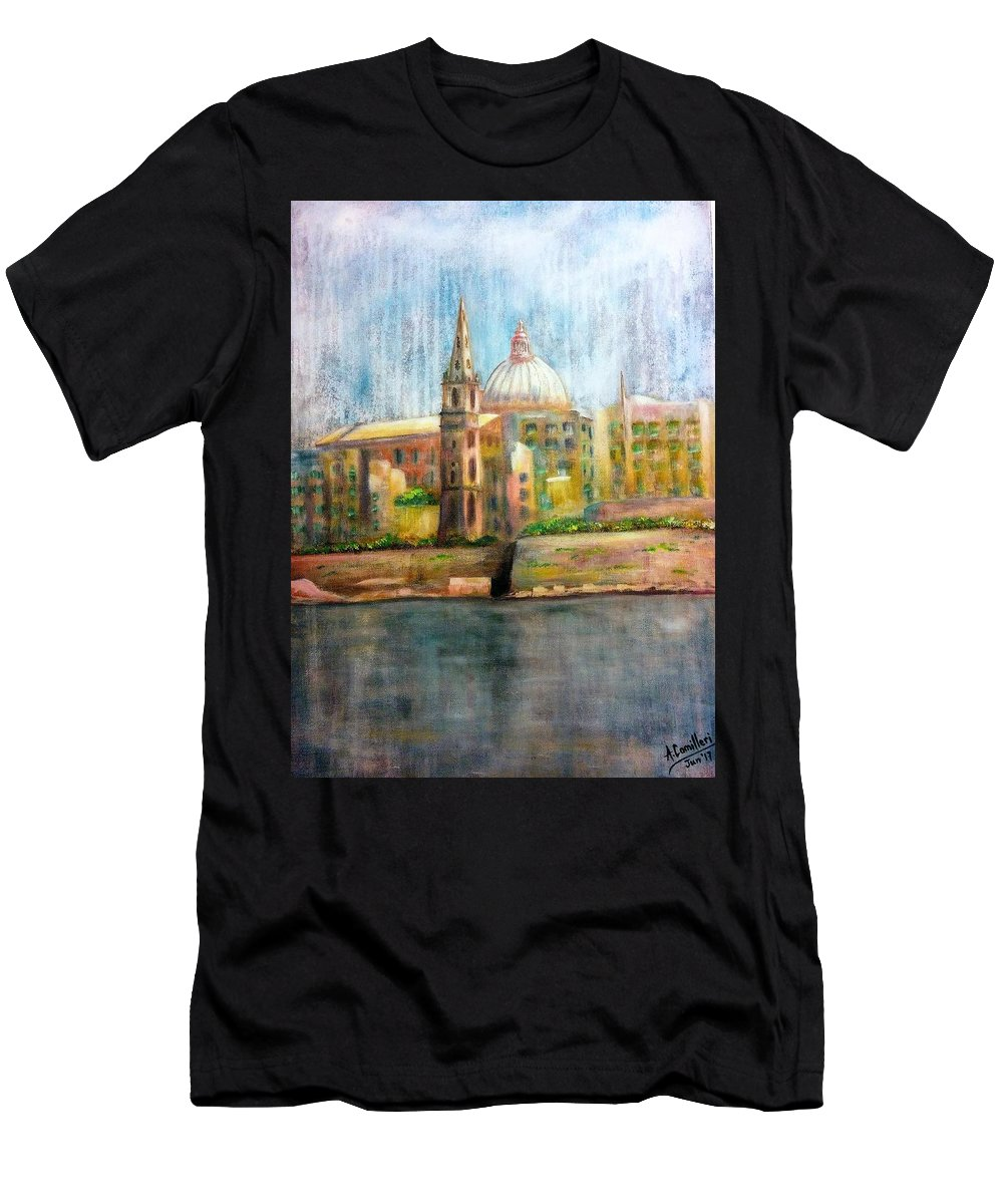 Men's T-Shirt (Athletic Fit) featuring the painting Valletta Icon by Anthony Camilleri