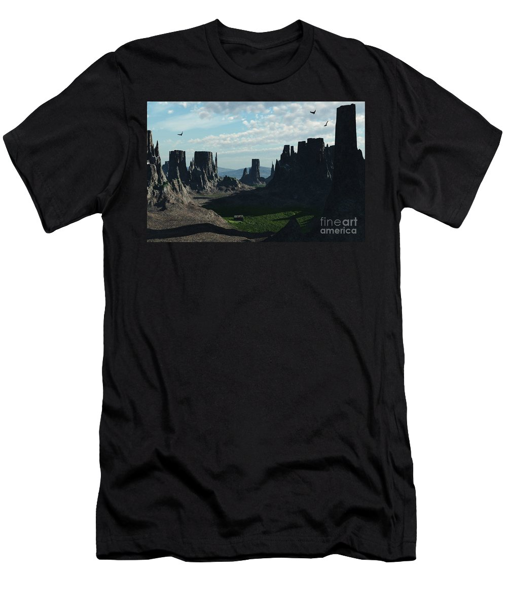 Valley Men's T-Shirt (Athletic Fit) featuring the digital art Valley Of The Kings by Richard Rizzo