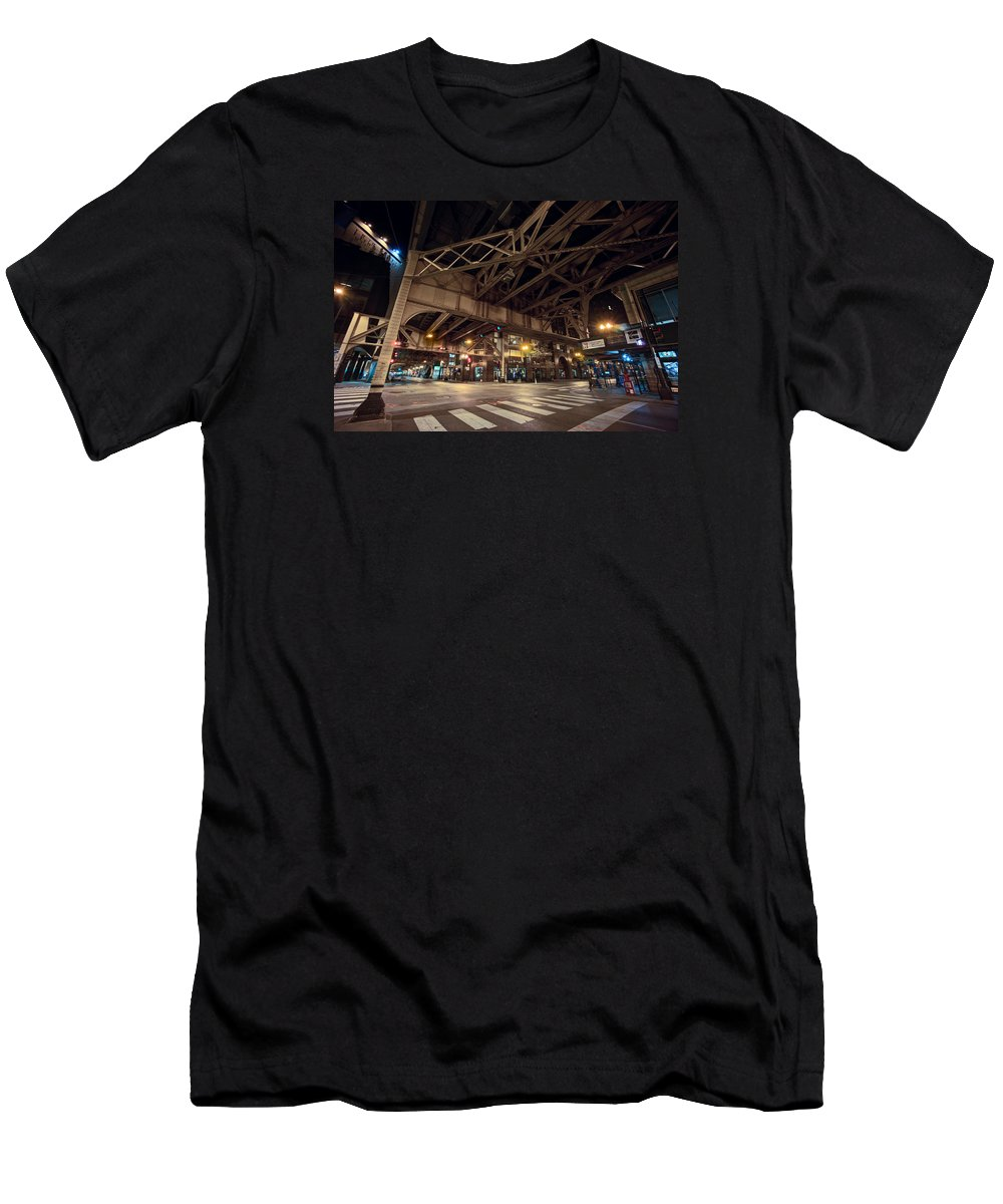 Chicago Men's T-Shirt (Athletic Fit) featuring the photograph Van Buren Street - South Loop - Chicago by Daniel Hagerman
