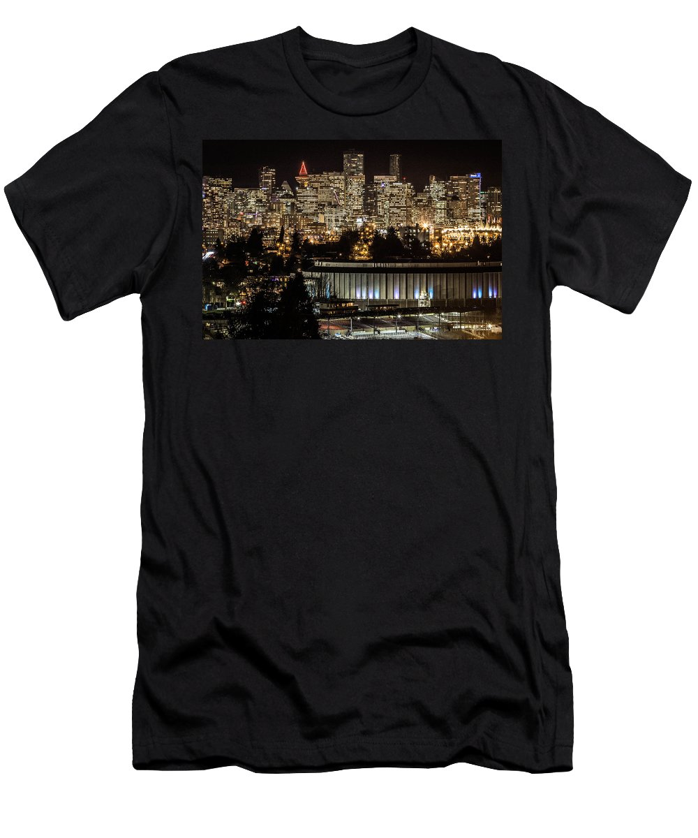 Vancouver Men's T-Shirt (Athletic Fit) featuring the photograph Vancouver Lights by Brigitte Mueller